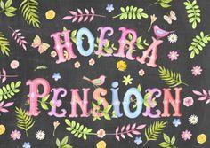 Hoera met pensioen! Uitnodiging pensioenfeest met een vrolijke en kleurrijke tekst.