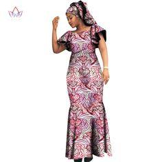 2017 שמלות אפריקאיות נשים עיצוב אופנה נשים דאשיקי bazin riche 6xl בתוספת גודל טבעי דאשיקי WY1095 o-צוואר ארוך שמלה