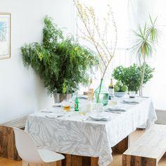Huddleson Linens - Aqua Teal White Rectangular Linen Tablecloth - Modern Print - Pure Linen - Custom Sizes Extra Wide