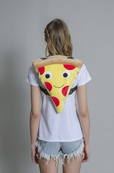 """16"""" of plush Cheezy Pie pizza goodness to strap on your back. You could even store a few slices in here! Plushy pizza backpack. - 16"""" - One side zipper - two adjustable straps Shipping Specifications:"""