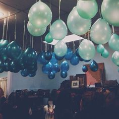 Love this idea of hanging balloons from the ceiling at the reception! Easy and CHEAP!