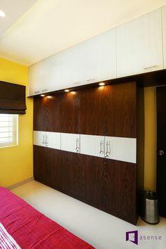 Ramesh & Vidya's apartment in Purva Raman Nagar, Bangalore Living Room Partition Design, Pooja Room Door Design, Room Partition Designs, Ceiling Design Living Room, Bedroom False Ceiling Design, Home Room Design, Wardrobe Interior Design, Wardrobe Design Bedroom, Bedroom Cupboard Designs