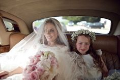 Bluebell the flowergirl: Geri and nine-year-old daughter share sweet moment before wedding in another official image