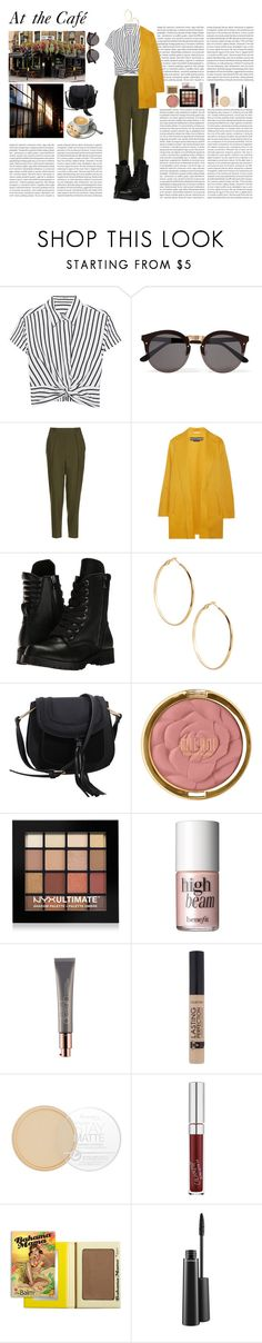 """""""At the Café"""" by silly-stegosaurus ❤ liked on Polyvore featuring T By Alexander Wang, Illesteva, Topshop, Rochas, Capezio, GUESS by Marciano, MKF Collection, Milani, NYX and Benefit"""