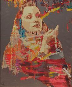 Hossam Hassan  Back to Beauty, 2012  Mixed Media & Acrylic on Canvas  110 x 86 cm