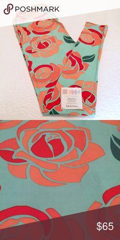 NEW LuLaRoe TC Leggings Orange Purple Roses Mint Leaves Blue Background UNICORN