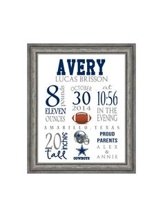 Birth Stat Dallas Cowboys Football Sports Art Print 8x10 digital file - pick your team! by PaperDollDesigns14 on Etsy https://www.etsy.com/listing/216497713/birth-stat-dallas-cowboys-football