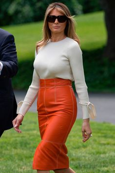 First Lady Melania Trump picked a fashion-forward look to depart for her first international trip.