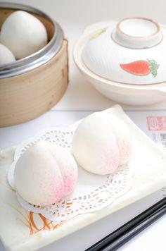 Dim Sum ~ steamed long - life buns/寿桃包。