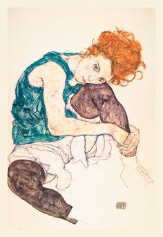 Seated Woman with Bent Knee, by Egon Schiele