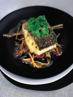 "Steamed Asian sea bass in the bag recipe - Jamie Oliver says ""This is one of the most heavenly and taste-zapping dishes ever. Fish Recipes, Seafood Recipes, Asian Recipes, Healthy Recipes, Ethnic Recipes, Healthy Food, Dinner Recipes, Healthy Eating, Asian Sea Bass Recipe"