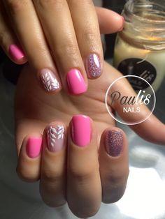Colorful Nails, Pink Nail Art, Semi Permanente, Love Nails, Nail Inspo, Pedi, Color Combos, Nail Colors, Nail Designs