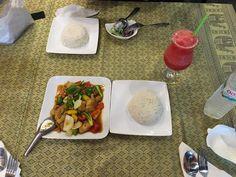 Pollo al curry e granita all'anguria