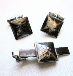Siam Sterling Niello Cuff Links Tie Clip Set in Original Box, 1950s, from MisterBibs on Etsy, $72.00