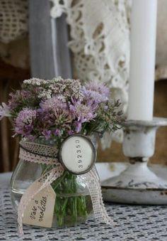 Cosy Home: Vintage, Rose, Brocante Flowers In Jars, Beautiful Flowers, House Beautiful, Fresh Flowers, Purple Flowers, Wild Flowers, Lavender Cottage, Flower Arrangements Simple, Deco Floral