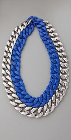Adia Kibur Silver & Neon Chain Link Necklace - StyleSays
