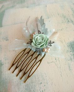 $28 Mint green woodland rose hair comb, woodland wedding feather fascinator, Australian handmade
