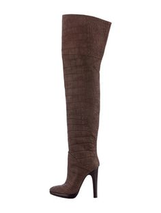 Brown Giuseppe Zanotti crocodile embossed leather over the knee boots with pointed toes and stacked wooden heels.