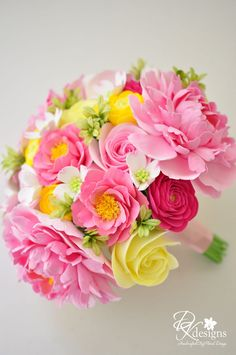 DK Designs: Pink and Yellow Wedding Bouquet for a Southern Wedding