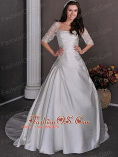 Gorgeous Wedding Dress A-line Square Appliques and Beading Chapel Train Satin- $235.73  http://www.fashionos.com  http://www.facebook.com/wedding.fashionos.us  This one will put you to mind of a traditional southern belle, when you put on this white wedding dress! It is highlighted with a straight neckline and half sleeves wraping the shoulder on the bodice with beaded appliques for accent. The A-line skirt with pleating has a court train.