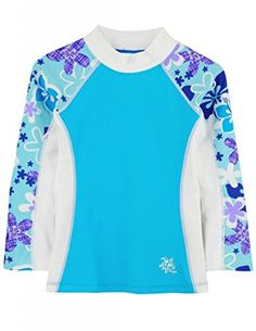 Tuga Girls Shoreline L/S Rash Guard (UPF 50+), Turquesa, 8/10 yrs