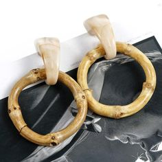 AENSOA Large Bamboo Round Pendant Drop Earrings 2019 Natural Exaggerated Cricle Statement Earrings For Women Bikini Jewelry Gift Tassel Drop Earrings, Wooden Earrings, Dainty Earrings, Circle Earrings, Round Earrings, Statement Earrings, Women's Earrings, Multiple Earrings, Beautiful Earrings