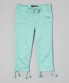 Another great find on #zulily! Mint Sateen Capri Pants - Toddler & Girls #zulilyfinds