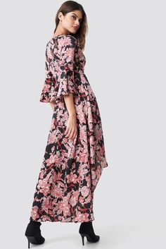 Shop for Wrap Maxi Print Dress Multicolor by Glamorous at ShopStyle. Dress Black, Cold Shoulder Dress, Bohemian, Pink Maxi, Glamour, Floral, Sleeves, Handbags, Shopping