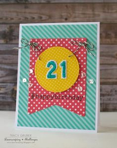 Stitched Party Banners, Little Numbers -- Lawnscaping Challenge: Happy Birthday Card + Video