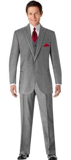 Phillip & I just used the Build-A-Tux feature on the Men's Wearhouse website to create the look we both like for the groomsmen. #MWTuxedo   Calvin Klein Two-Button Gray Super 110s  Satin Edge Peak Lapel (1870) Phillip will wear his tails with the grey vest and red tie. This is the plan for now, anyway :)
