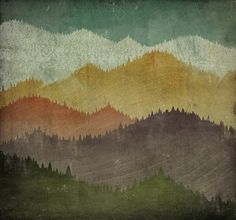 MOUNTAIN VIEW Smoky Mountains - Gallery Wrapped Stretched Canvas Wall Art 24x24x1.5 inches - SIgned. $225.00, via Etsy.