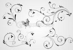 Illustration about Set of floral black design with swirl elements on gray background. Illustration of beauty, scroll, design - 22913623 Phenix Tattoo, Swirl Tattoo, Muster Tattoos, Clip Art, Lettering Styles, Quilling Designs, Illustration, Scroll Design, Swirl Design