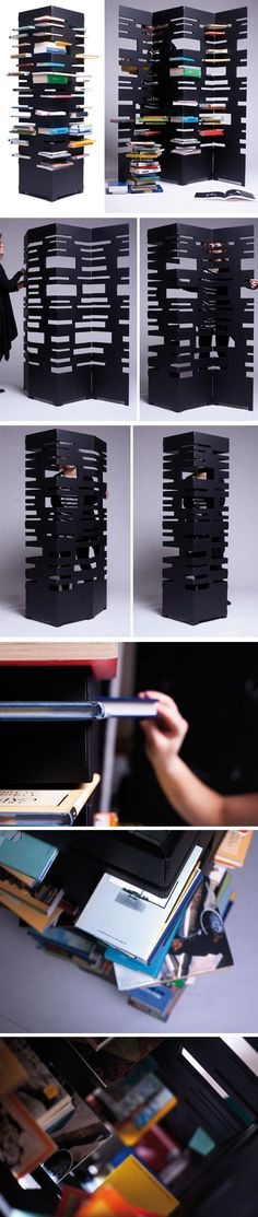 b-ok-par-marica-vizzuso-journal-du-design/ - The world's most private search engine Folding Furniture, Cool Furniture, Furniture Design, Modern Bookshelf, Bookshelves, Bookcase, Metal Bending, Interior Architecture, Interior Design