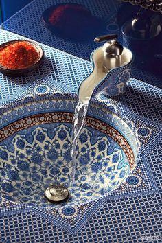 Moroccan tiled sink.