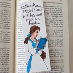 Belle Bookmark - Beauty and the Beast - Disney - Illustrated - Disney Quote