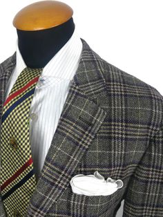 Fabri Personal Tailor Blazer size 44R Wool Tweed Check Prince of Wales Plaid