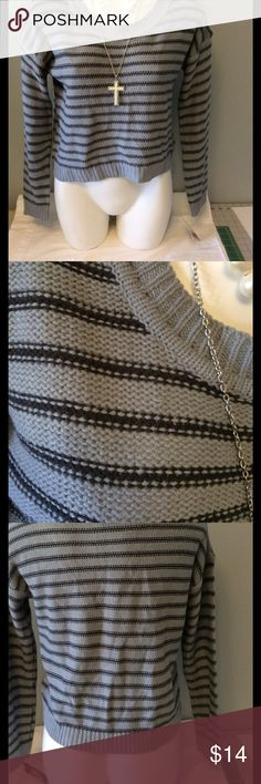 NWT Planet Gold Gray Striped Sweater NWT  size medium.  Gray with darker gray/black stripes. Planet Gold Sweaters
