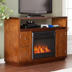 Southern Enterprises Brentford Dark Tobacco Electric Fireplace Media Console - HN4970-3