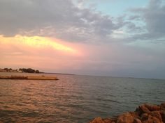 Looking out over Sandusky Bay from breakwall 8/23/14 evening