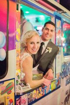 Mr. and Mrs. Wallaby snuck into the ice cream truck they rented for a few moments of photo opps. Photo by Mustard Seed Photography