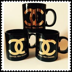 PERFECTION IN A MUG!!  COFFEE.TEA.CHANEL GLOSSY BLACK AND GOLD METALLIC  Ships in 2-6 weeks!!!!!  A Chic and Fun way to have your morning drink of choice...  Jumbo 20 oz size makes it a great mug for serving soups and desserts as well.  4.4 in. H X 4.1 in. D  Made of Premium Ceramic  ...