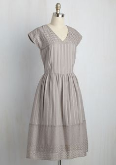 Destined for Detail Dress. Be it for an upcoming occasion or simply a desire for incredible design, this grey dress is meant to become a part of your collection! #grey #modcloth