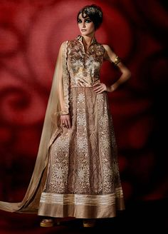 A Readymade Indian Pakistani Traditional Bollywood Ethnic Designer Coffee Anarkali Dress VMSPSLRA-214-RDM