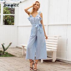 95ea7ac969 Simplee Ruffled cotton linen women jumpsuit playsuit Sleeveless button  jumpsuit casual Summer wide leg overalls jumpsuit long