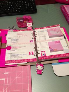 Next week's set in my Fluro Pink A5 Filofax. Went with the Hello Kitty Theme.