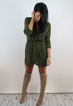 Olive+Green+Long+Sleeve+Wrap+Dress