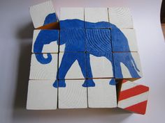 Project: Elephant BlockPuzzle. I also picture some mini puzzles made from small square wood ''chips'' and using large adorable stamps!