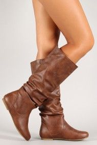Slouchy Flat Knee High Boot Brown, Black $23
