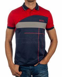 Polo T Shirt Design, Polo Shirt Girl, Mens Polo T Shirts, Boys T Shirts, Casual T Shirts, Cool Shirts, Red Shirt, Camisa Polo, Hugo Boss