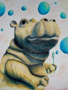 Anderson The Hippo by ArtworkByJennyHanson on Etsy, $20.00